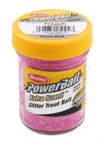 Berkley Powerbait Glitter Trout Bait 1.75 Oz Jar Bass Fishing Lure Bait (Pink) ()