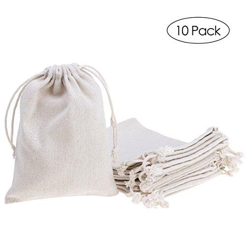 ULTNICE 10 unids Bolsas con cordón de lino Jute Wedding Party Gift Favor bolsa de almacenamiento de joyas bolsa