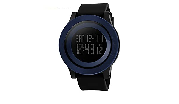 ... Stopwatch 5 ATM Waterproof Sport LED Digital Watch Military Rubber Wrist Watch Strap Analog Quartz Watch with Date Month Relojes De Hombre: Watches