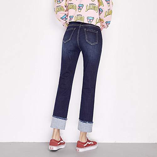 La Rayure En Automne Femme L Stretch Jeans Côté Plus Liquidation Casual Rlwfjxh Xxl Lâche Taille Cuff Droite Haute 6xl q17Xwn