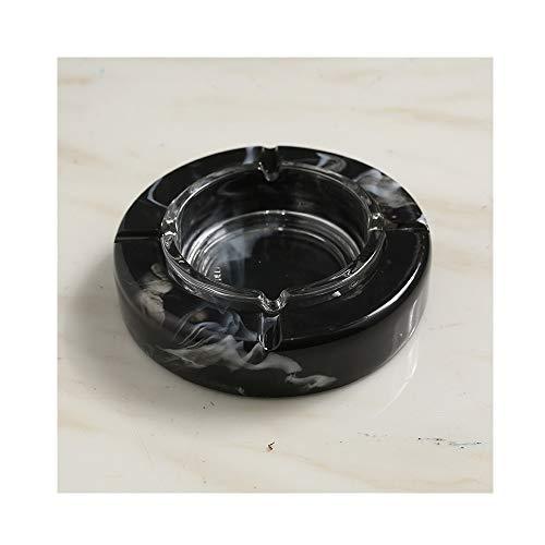 AO Nordic Marble Ashtray Ornaments Trend Home Living Room Model Room 10.5X15.5x3.5cm (Color : Black)