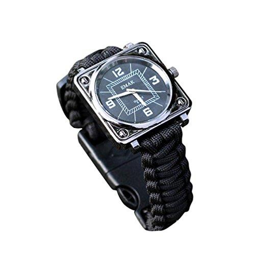 Makalon Outdoor Survival Kit Paracord Wrist Watches Compass Flint Whistle Bushcraft Gear ()