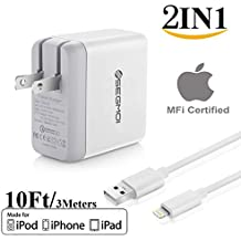 2in1 SEGMOI Apple MFi certified 3Meters/10Ft Lightning To USB Cable Cord + US Plug Dual USB Port Wall Adapter Travel Power Charger For iPhone 7 7 Plus 6 6S Plus 5S 5C iPad 3 4 Mini Air Pro (White Kit)