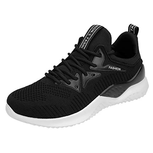 Huaze Women's Fashion Mesh Knit Uppers Sneakers Outdoor Casual Lace-Up Sports Shoes Comfortable Breathable Run Sneakers (Black, 6.5)