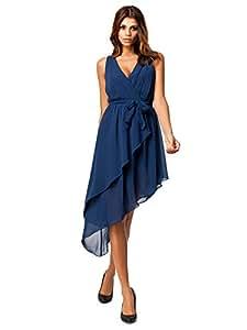 Joshua G Smith's Shop 4886220J0FD252107WJ Sleeveless V-Neck High-Low Hem Layers Dress With Sash Navy Size M