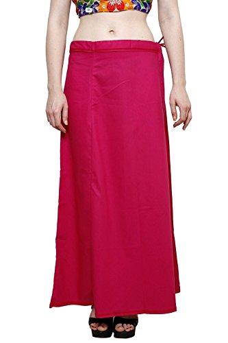 Aurielle Rogisse Mujer India Sari Algodón Enagua Bollywood Solid Inskirt Costuras Forro Enaguas Dark Pink