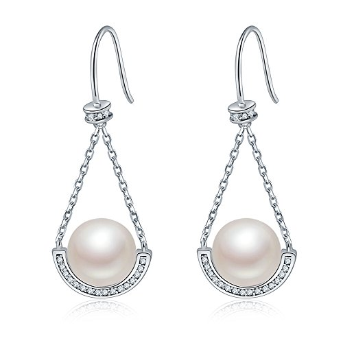 (Crystal Sterling Silver Freshwater Pearl 9mm Teardrop dangle Earrings Bridal Ear Studs Betrothal Jewels (swing))