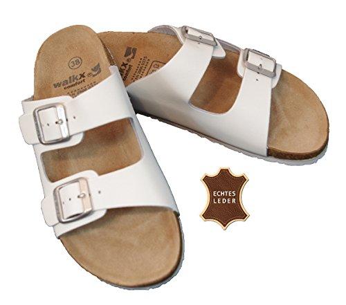 Damen Bio Clogs Tieffußbett Pantoletten Sandalen ECHTES LEDER 2 Schnallen Gr. 37 bis 41 Weiß (38)