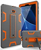 Samsung Galaxy Tab A 10.1 Case,XIQI Three Layer Hybrid Rugged Heavy Duty Shockproof Anti-Slip Case Full Body Protection Cover for Tab A 10 inch(SM-T580),Grey Orange
