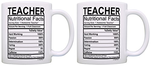 Teacher Appreciation Gifts Teacher Nutritional Facts Label 2 Pack Gift Coffee Mugs Tea Cups White
