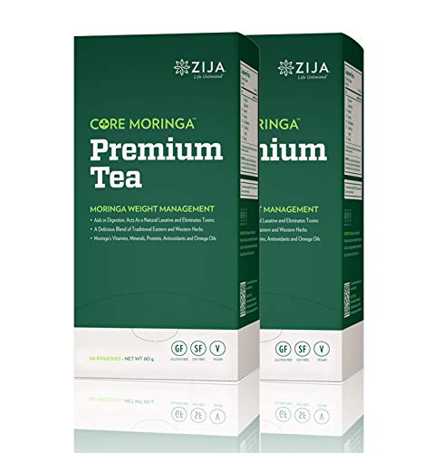 Zija Preimum Detox Tea, Weight Loss Tea, Core Moringa – 30 Pouches Per Box 2 Pack 60 Total Pouches