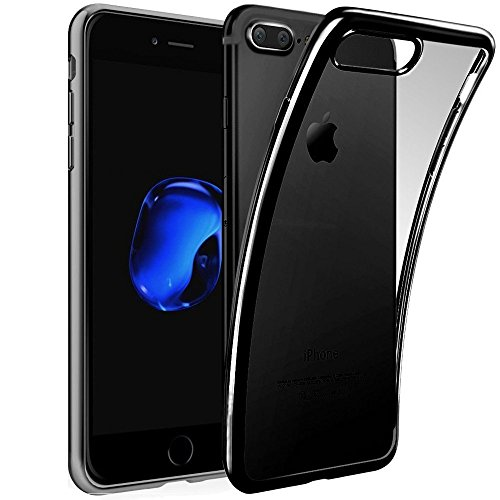 iPhone 8 Plus Jet Black Case, Miniko(TM) Ultra Thin Hybrid Clear Shockproof Jelly TPU Jet Black Case Cover Scratch Resist Protective Case for iPhone 8 Plus ()