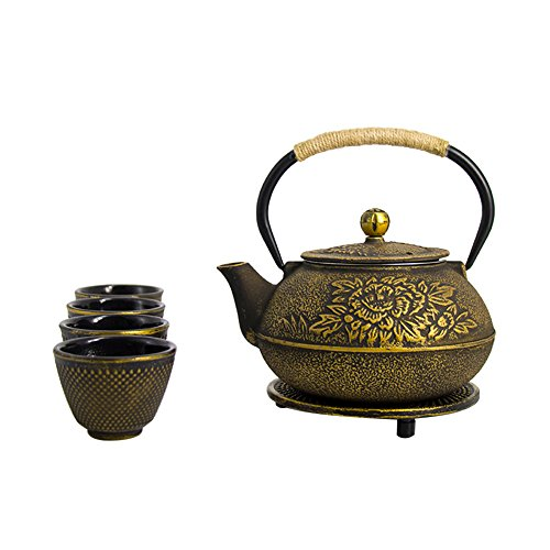 ISINO Cast Iron Teapot Teacup Set , Japanese Tetsubin Tea Tot with Teacups and Trivet , Gold with Peony (Set Teacup Peony)