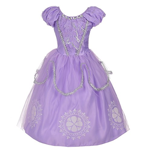 Dressy Daisy Girls Princess Sofia Dress Up Costumes Halloween Fancy Party Dress Silver Trimmed Size 3T / 4T ()