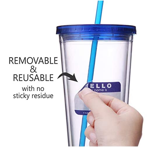 Cupture 12 Insulated Double Wall Tumbler Cup with Lid, Reusable Straw & Hello Name Tags, 16 oz, Assorted Colors  