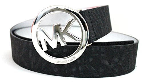 Michael Kors Mk Signature Monogram Logo Buckle and Belt (X-Large, Silver and ()