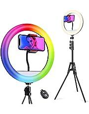 Quntis 12 inch RGB led-ringlamp met statief en telefoonhouder, 160 cm selfie ringlamp met afstandsbediening, 192 leds ringlamp met 11 kleuren en 10 helderheidsniveaus voor Live YouTube TikTok make-up video vlog