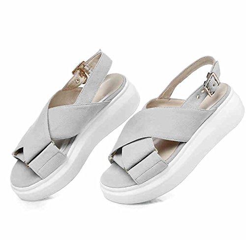 PENGFEI Chanclas de playa para mujer Personalidad de zapatillas de playa Verano femenino Scrub antideslizante Sandalias de fondo grueso Negro y gris Cómodo y transpirable ( Color : Gris , Tamaño : EU4 Gris