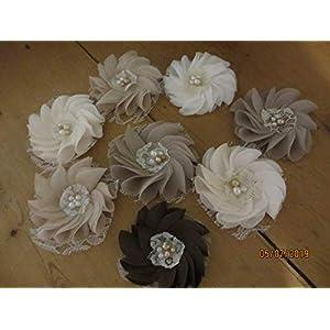 New Handmade Rustic Fabric Flower Hair Barrettes, Rustic Shower Favor Flowers, Hair Clips, Bridal Party Flowers,Wedding Flowers,Rustic Flower Corsage 39