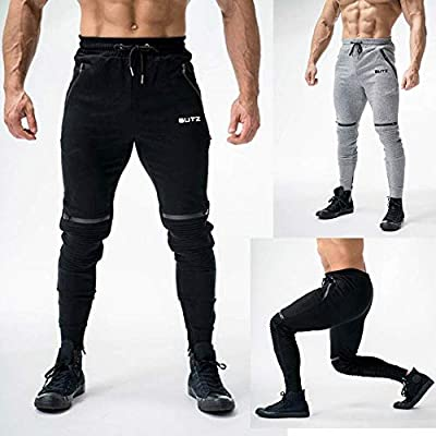 Men Fold Overalls Pants Long Comfort Casual Work Elastic Waist Pockets Running Jogging Athletic Sport Sweatpants