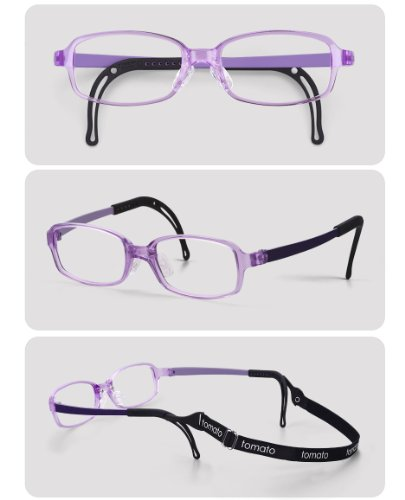 Eyeglass Frames By Tomato,TJAC1-47, Purple Color Specialized Eyeglass Frames, Light Weight-Flexible, With adjustable nose pad & ear tips(47x17) (47x17)