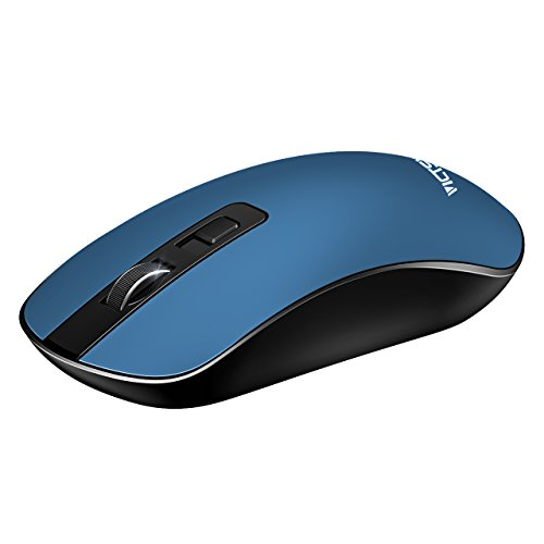 Nano Cordless Laser Mouse (VicTsing 60310 4-Button Slim Silent Wireless Mouse,3 Adjustable CPI Levels,Silent Click with USB Nano Receiver and ON-OFF Switch for PC, Laptop, Computer and Mac- Blue)