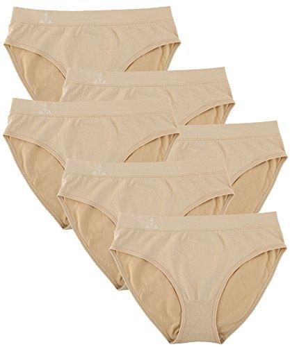 Balanced Tech Women's Seamless Bikini Panties 6-Pack - Nude - X-Large