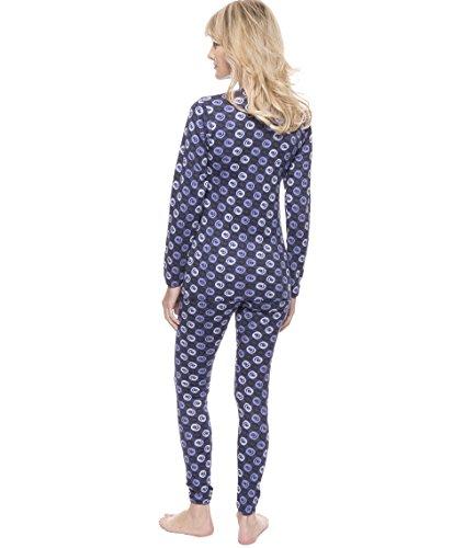 Noble Mount Frío Extremo Conjunto Térmico de Waffle Knit para Mujer Espirales Mareados Azul/Negro