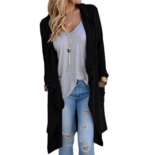 Elevin(TM)Women Irregular Long Sleeve Cardigan Loose Outwear Jacket Coat (XL, Black)