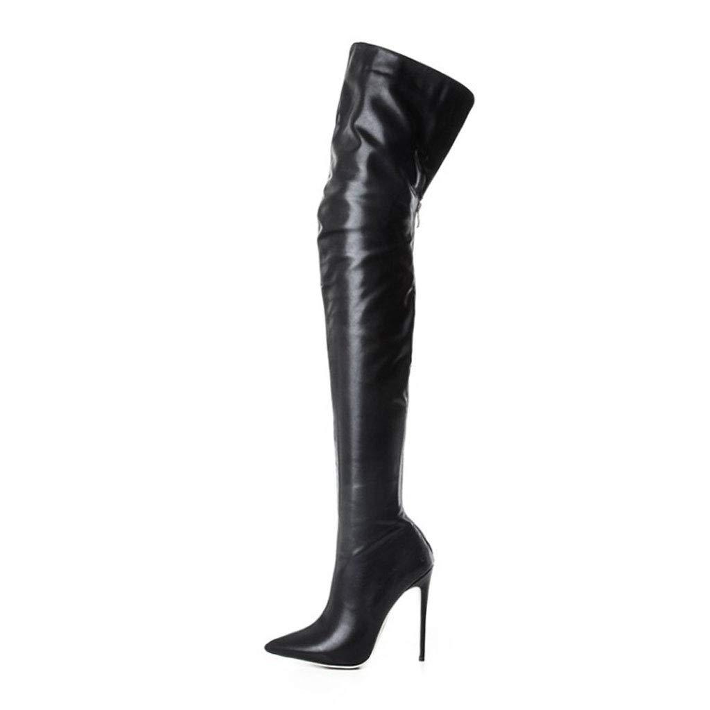 FCXBQ Hochhackige Knie Stiefel Wies Sexy Hohe Stiefel Elastische Mode Stiefel ReißVerschluss Wasserdichte Plattform Damen Oberschenkel Stiefel Party Party Kleidung Mit