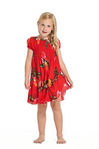 Hawaii Hangover Girl Hawaiian Short Sleeve Elastic Top Dress In Red Floral Size 4