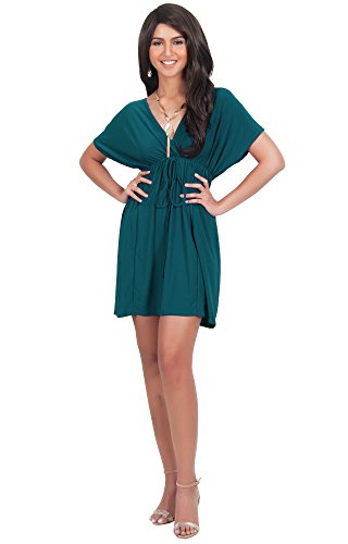 KOH KOH Plus Size Womens Caftan Kaftan V-Neck Beach Summer Kimono Short Sleeve Sexy Cover Up Cheap Cute Sundress Sundresses Sun Day Tunic Mini Dress Dresses, Emerald Green 2XL 18-20