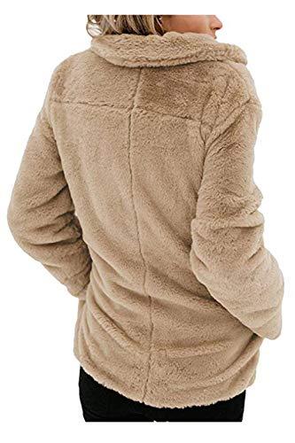 Survêtement Veste Polaire Manteau Abricot Open Femmes Cardigan Front Floue Zilcremo Revers 8xRgwEHqR