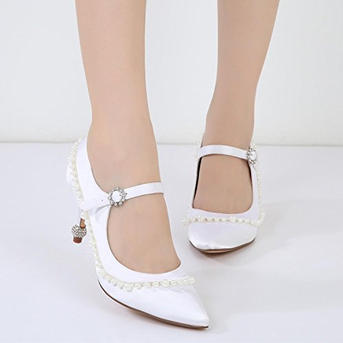 amp; Pour De Chaton Été Et L Hiver yc Avec Roman Femmes Confortable Chaussures G17767 Automne 40 Printemps Strass White Mariage IwEFEOqx