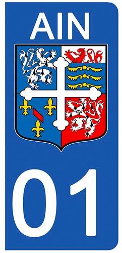 Stickers Garanti 1 an aux Rayons UV. 01 Blason AIN DECO-IDEES 2 Stickers pour Plaque dimmatriculation Stickers recouvert dun pelliculage sp/écifique pour Resister aux intemp/éries