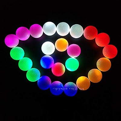 TOBWOLF 6 PCS LED Golf Balls, Glow in The Dark Practice Golf Balls, Long Lasting Bright & Multi Color, Professional Night Luminous Golf Accessories