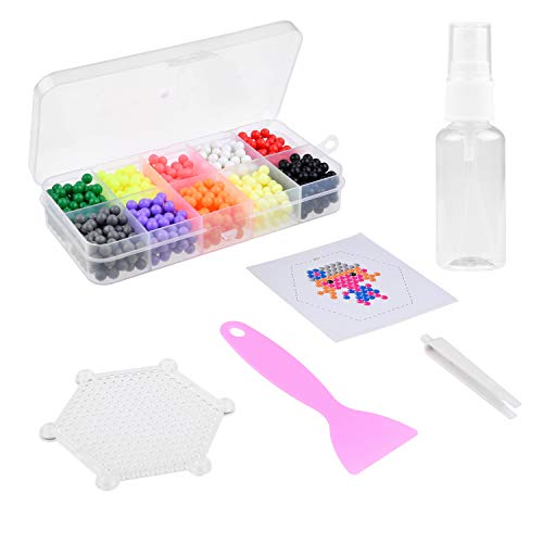 Kare & Kind Magic Water Fuse Beads Set- 10 Random Colored Beads - with Plastic Box, Bead Peeler, Tweezers, Spray Bottle, Six Sided Cards, Six Sided Template, Tutorial Book - Kids Arts, Craft, DIY