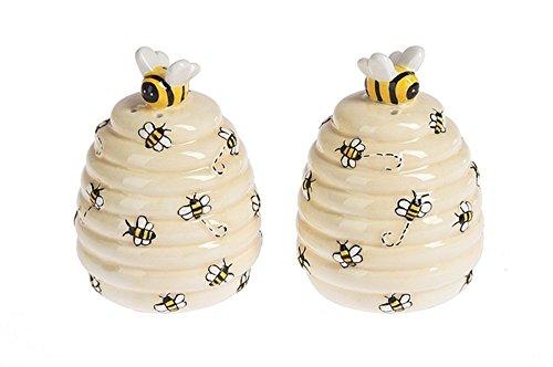 Ganz Kitchen Spring Decor Ceramic Bee Hive Salt & Pepper Shaker Set ()
