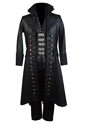 Mens Halloween Pleather Outfit Captain Hook Cosplay Costume Set 5 Pcs,Medium -
