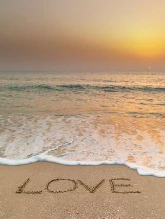 Sand writing - Word Love written on beach - Fine Art Print on Matt ...