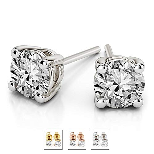 (Luxury 1/5 cttw IGI Certified Diamond Stud Earrings For Women Natural Diamond Solitaire Earrings I2-JK Quality 10K Gold 100% Real Diamond Earrings Diamond Jewelry Gifts (1/5 cttw, White Gold))