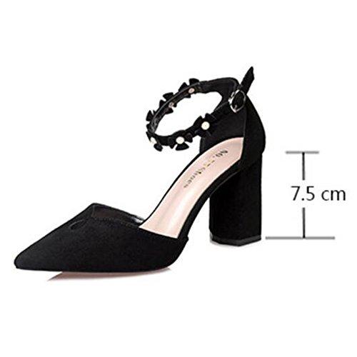 De De Lady Mujeres Sexy Zapatos Flores Profesional Banda Fashion Kaki Trabajo Talón De Pumps Sandalias Grueso Para Tobillo Banda Tip Word Corte rIS0wI