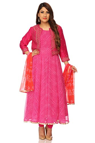 BIBA Women's Anarkali Poly Cotton Suit Set 32 Pink by Biba