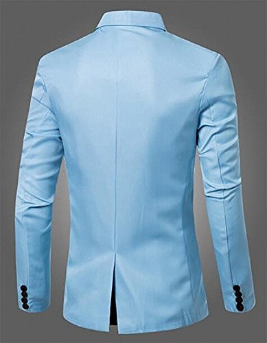 LeNG Mens Slim Fit Solid Button Closure Casual Blazers Suit Light BlueUS-XSmall-(China Large)