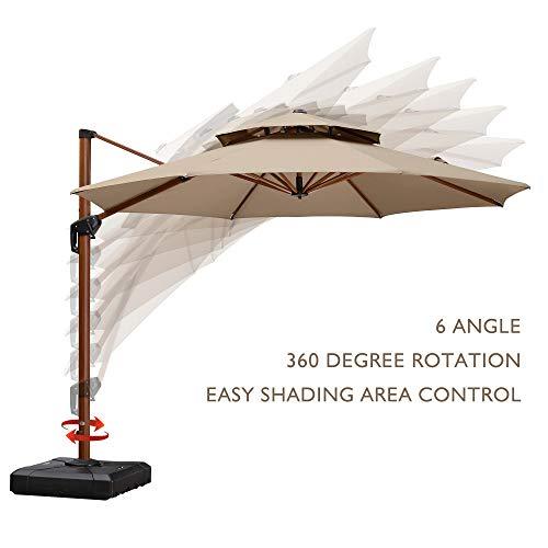 PURPLE LEAF 11 Feet Double Top Deluxe Wood Pattern Patio Umbrella Offset Hanging Umbrella Cantilever Umbrella Outdoor Market Umbrella Garden Umbrella, Beige