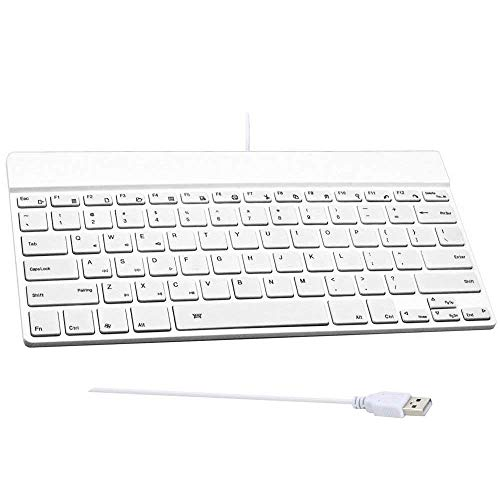(Universal Mini USB Keyboard Wired 78 Key for Mac/Laptop/Desktop/PC/Computer, Plug and Play - White)