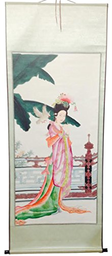 (Large Hand Painting Chinese Scroll Art with Geisha and Bird)