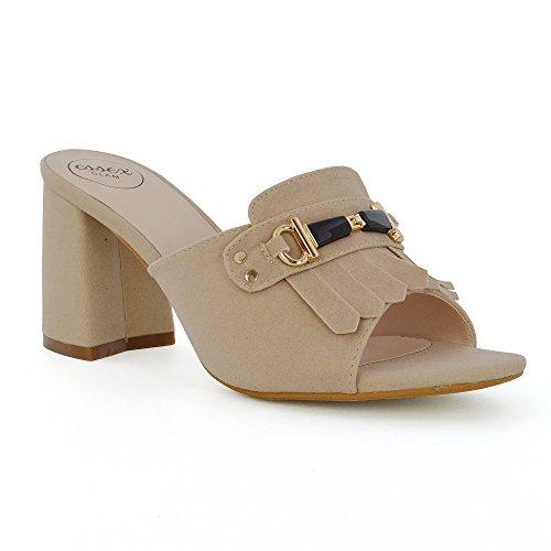 ESSEX GLAM Womens Block Heel Mule Shoes Buckle Slip On Ladies Open Back Peep Toe Sandals Nude Faux Suede xmp8bf