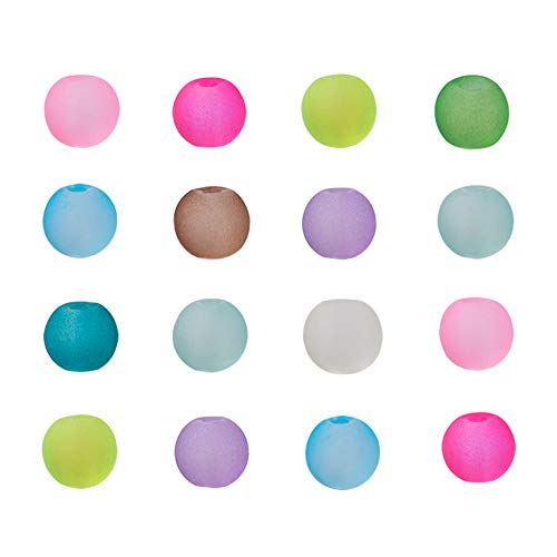 - Craftdady 500PCS 4mm Assorted Mixed Round Transparent Frosted Crystal Glass Beads Loose Beads for Jewelry Making