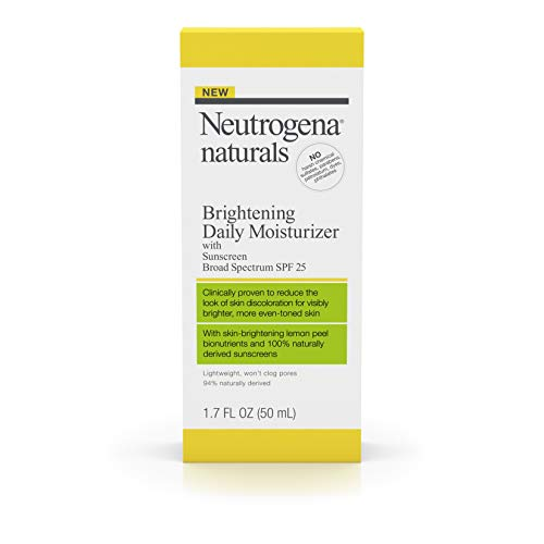 Neutrogena Naturals Brightening Daily Moisturizer with Broad Spectrum SPF 25 Mineral Sunscreen & Skin-Brightening Lemon Peel, Lightweight, Fast-Absorbing & Non-Comedogenic, 1.7 fl. oz